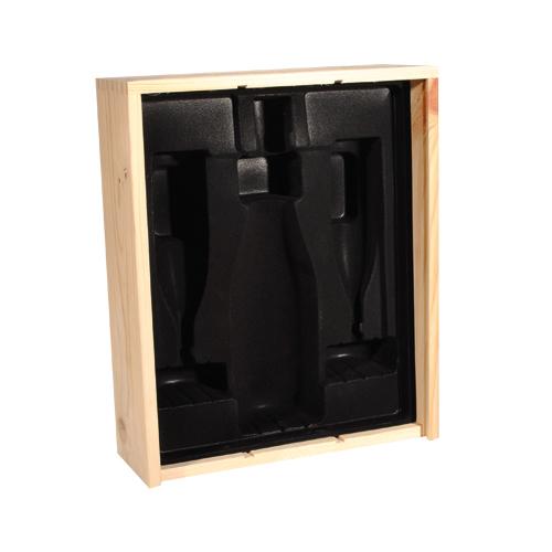 Interieur voor champagne 1 fles 2 flutes fluweel zwart for Edha interieur b v